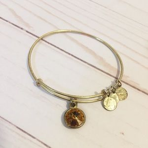 Alex and Ani Gold Topaz Birthstone Charm Bangle